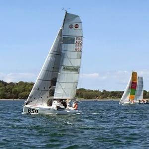 Pogo 2 AUS 659 with Solo Sails