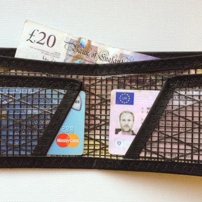 bifold sailcloth wallet inside