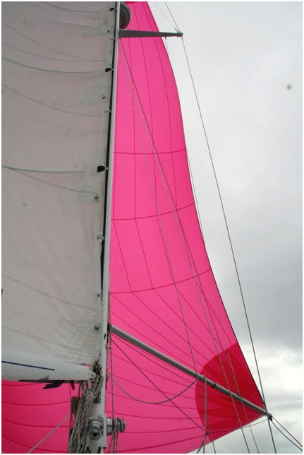 Reaching with symmetrical spinnaker